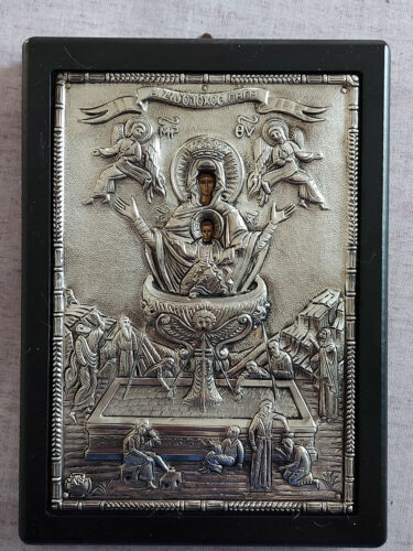 """Mother of God of the """"Life-Giving Spring"""" Greek Byzantine Icon Silver 950!!!"""