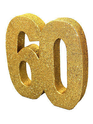 60th Birthday Table Centerpieces ( Gold Glitter 60th Birthday/Anniversary Celebration Centrepiece Table)