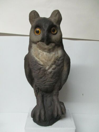 """Vintage Halloween 16 1/2"""" Tall Paper Mache Sitting Owl - Front Facing Decoy"""