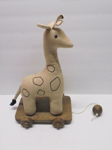 Baby & Child Rustic Giraffe Pull Toy Nursery Decor Primitive Linen Wood RARE