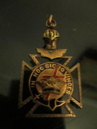 Antique Gold Filled Enamel IN HOC SIGNO VINCES Knights Templar Pocket Watch Fob