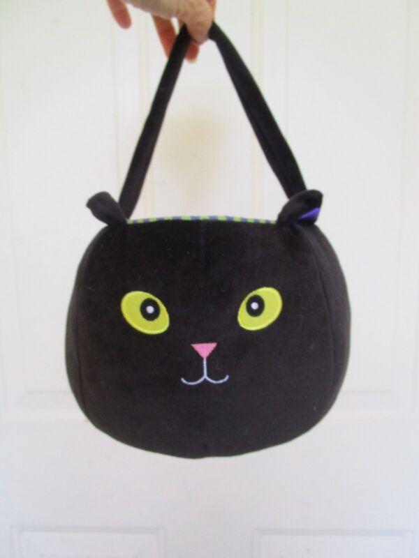 FABULOUS FABRIC BLACK CAT HALLOWEEN TRICK OR TREAT CANDY BUCKET/PAIL 2004