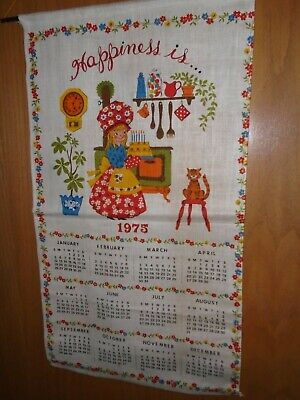"""VINTAGE 1975 CALENDAR TOWEL/WALL HANGING """"HAPPINESS IS"""" GIRL IN KITCHEN"""