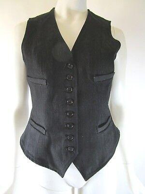 RALPH LAUREN BLACK LABEL Made in USA Black Denim Four Pocket Vest Size 4