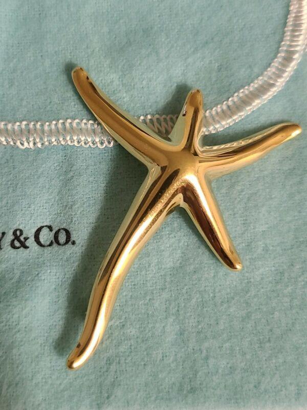 Tiffany & Co Elsa Peretti 18 KT Yellow Gold large Starfish Broche Pin. Authentic