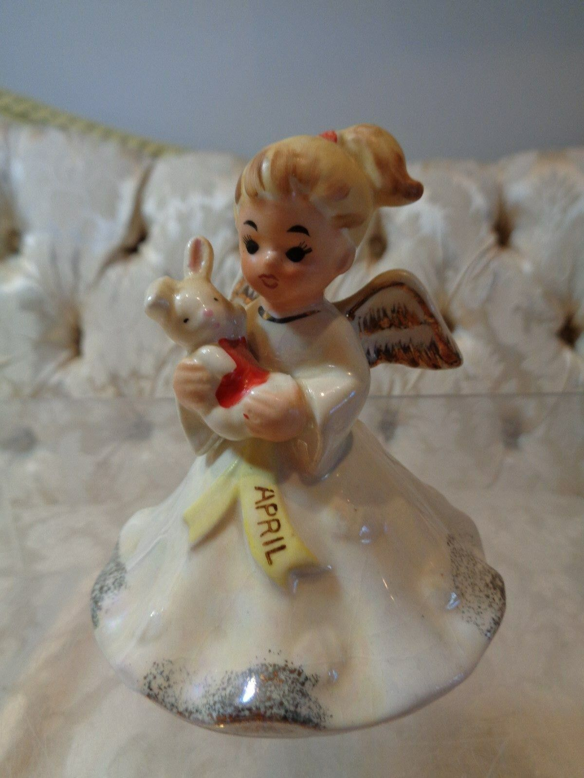 Vintage Norcrest April Easter Birthday Angel W/rabbit Figurine F-15 - $49.99