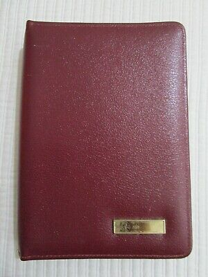 Day-timer Burgundy Leather Desk Planner 7-ring Binder Family Record Inventory