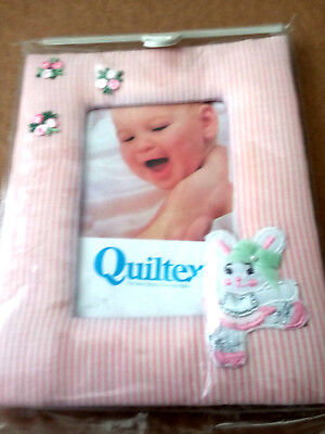 Quiltex Girls Pink Stripe Picture Frame w/Dancing Ballerina Bunny (set of 2)