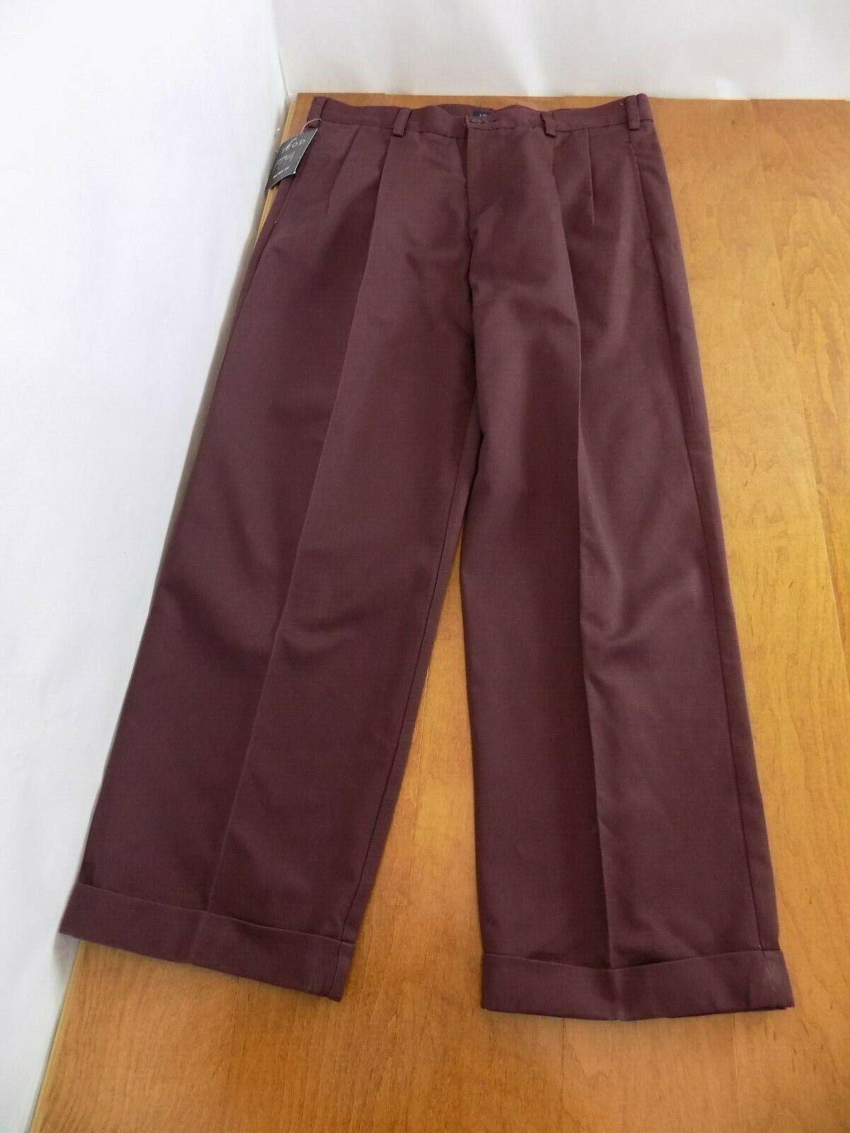 NEW IZOD Mens American Chino Pants Sz W 36 X L 30 Wine Slack