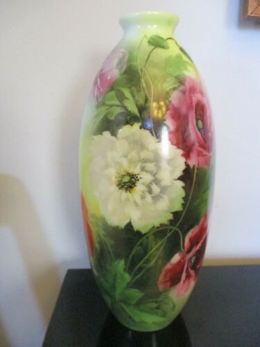 "Large Antique Victorian Hand Painted Enamel Poppy Mum Bristol Glass 14.5"" Vase!"
