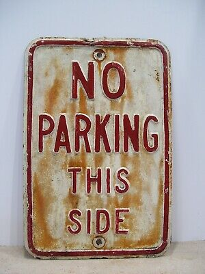 "Vintage Embossed Lettering ""No Parking This Side"" Metal Sign"