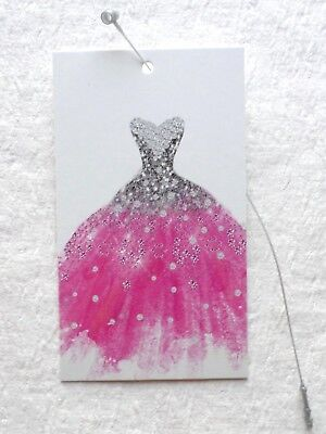 100 Hang Tags Boutique Tags Price Tags Cute Pink Gown Retail Tags Plastic Loops