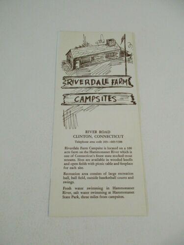 Vintage Riverdale Farm Campsites Clinton Connecticut Travel Brochure & Map~BoxP1