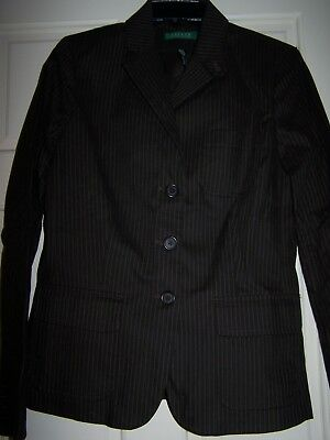 Ralph Lauren Jacket Blazer New with Tags Size 10 Brown with Cream Pin Stripes