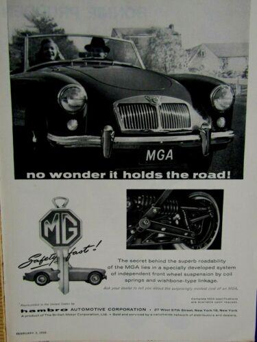 """1958 MG MGA Hambro Automotive Original Print Ad 8.5 x 11"""""""
