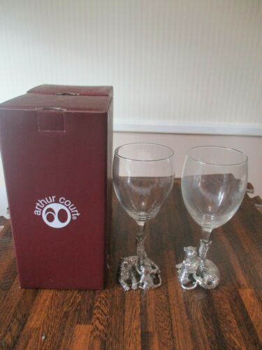 Vintage 2 Safari Arthur Court design Jaguar Wine Glass with Cast Aluminum MINT