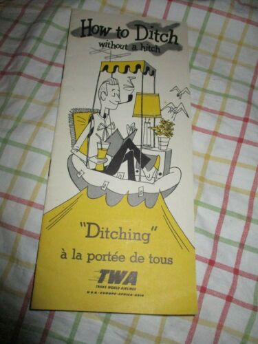 How to Ditch Without a Hitch TWA Ditching Brochure 1951 VGC Safety Card Airline