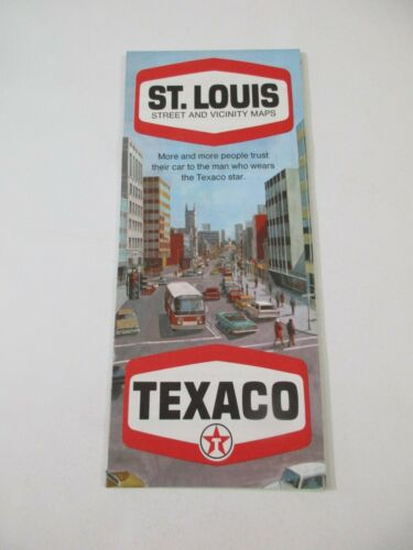 Vintage 1969 Texaco St. Louis Missouri Oil Gas Station Travel Road Map-Box 24
