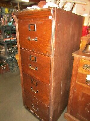 Vintage Oak File Cabinet 4 Drawer Legal Oak