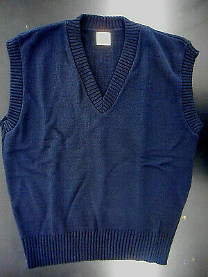 "Men's A+ Navy V-Neck Pullover Sweater Vest Sizes Small - 7X ""Made In The USA"""