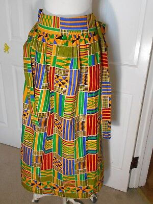 Womens African Kente Handmade Fabric Print Skirt With Belt 46''x 42''