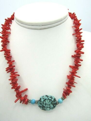 """Stunning Vintage Red Branch Coral Turquoise Pendant Magnetic Clasp Necklace 16"""""""