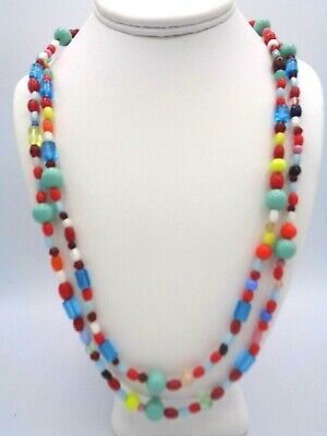 Multi Color Beads Necklace (Stunning Multi Colored Glass Beads Long Flapper Necklace)