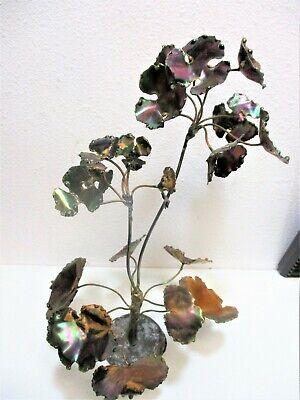 Vtg Metal Flower Welded Plant w Gold Leaves 1970's  Mid Century ART