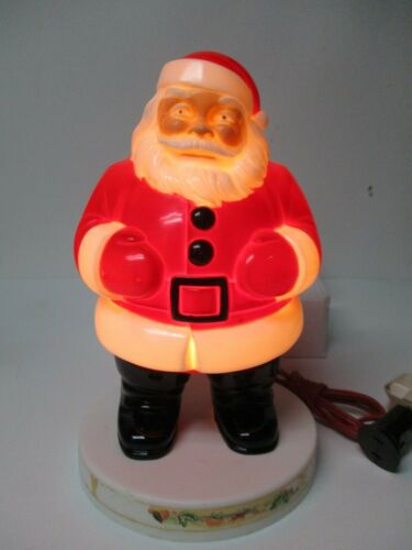 Old GENERAL Co - Lighted Hard Plastic Christmas Santa Claus on Disk