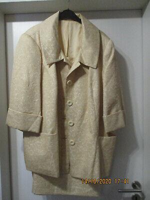 Damen  Kostüm Jackenkleid Gr.50 52 Rock Blusenjacke - Gold Kostüm Kleid