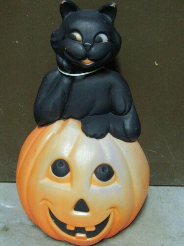 OLD PLASTIC HALLOWEEN BLACK CAT SITTING ON PUMPKIN BLOW MOLD YARD DECORATION