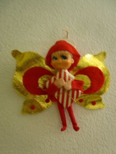 VINTAGE ELF/PIXIE PLASTIC HEAD & HUGE FAIRY GOLD&RED WINGS CHRISTMAS ORNAMENT