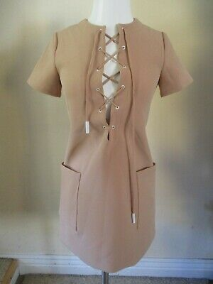 KENDALL + KYLIE nude tie lace up front short sleeve dress sz XS
