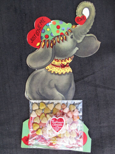 VINTAGE 1950s? ELEPHANT VALENTINE CARD w UNOPENED JOHN MULLANE CANDY PACK
