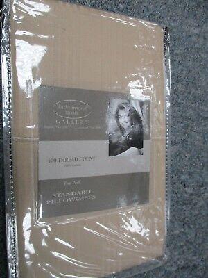 Kathy Ireland 400 Thread Count 100% Cotton Stripe PILLOW CASES SAND KHAKI !!