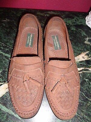 HILL & ARCHER MENS BROWN SUEDE 7.5M TASSEL MOCCASINS SHOES EXCELLENT - Archer Shoes