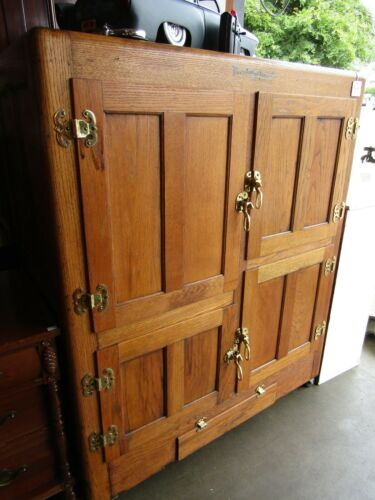 ANTIQUE BOHN SYPON OAK KITCHEN PANTRY ICE BOX CABINET REFRIGATOR