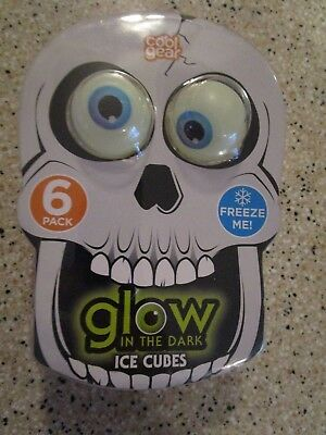 EYE BALL ICE CUBES GLOW IN THE DARK COOL GEAR 6 PACK NIP - Glow Ice Cube