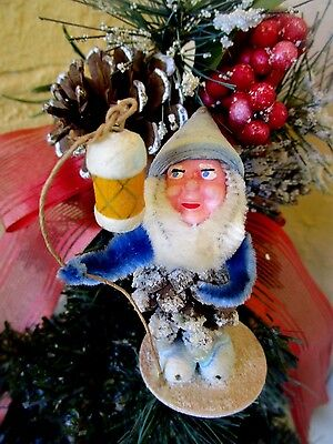 VINTAGE RARE ELF/GNOME PINECONE COMPO FACE SPUN COTTON&PUTZ&MICA XMAS DECORATION