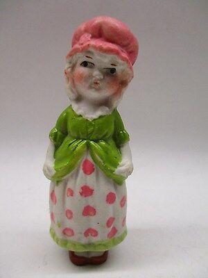 "Bisque Frozen Charlotte Doll Girl Mother Hubbard  3 1/2"" Japan"