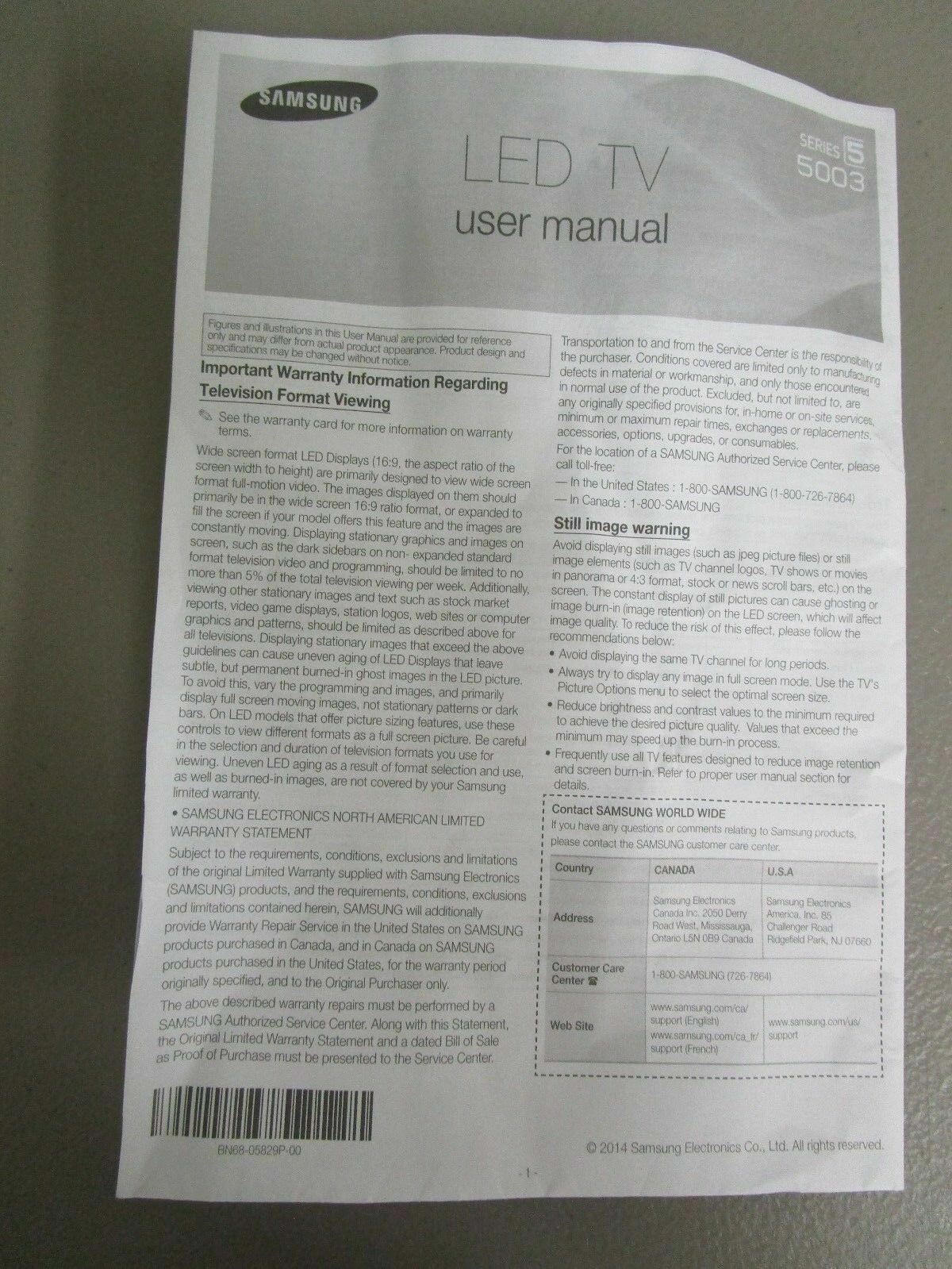 Samsung Series 5 5003 LED TV User Manual