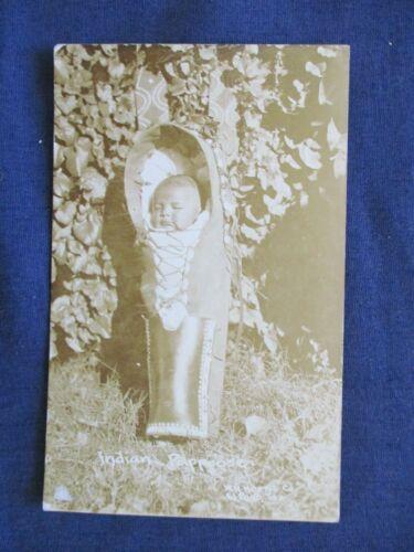 RP Native American Indian Baby in Cradle Board Postcard by Horne El Paso Texas