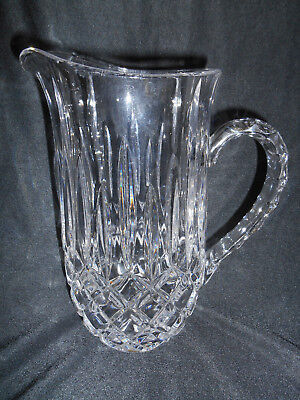 VINTAGE PRESSED GLASS CRYSTAL PITCHER DIAMOND DESIGN  THICK HEAVY
