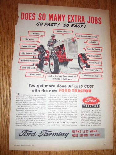 VINTAGE FORD TRACTOR ADVERTISING - FORD JUBILEE TRACTOR -1953