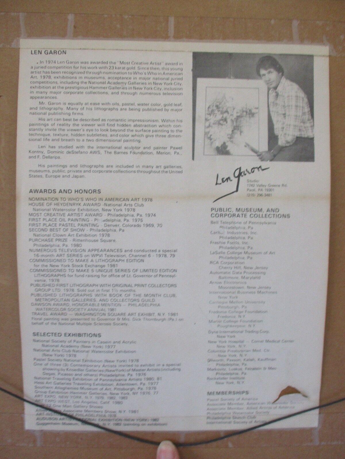 """Framed & Matted Original Art Painting by Artist Len Garon 1985 Frame 24"""" x 30"""""""