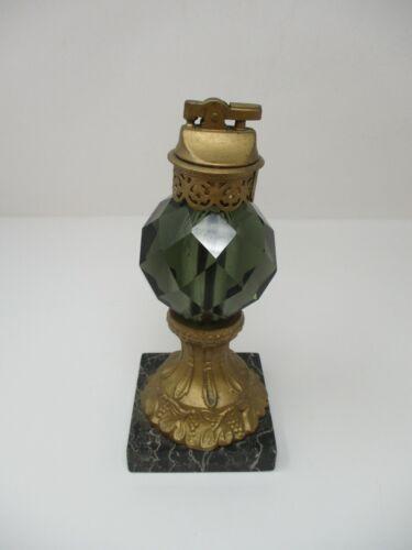 Vintage Crystal Cut Green Glass Cigarette Lighter on Italian Marble Base
