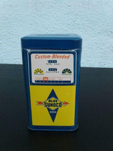 "Vintage 4"" Blue Sunoco 200X Gasoline Gas Station Pump Shaped Tin Metal Coin Bank"