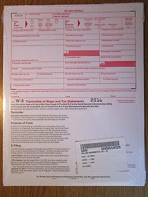25 Pack    2016 Irs Tax Form W 3 Transmittal Of Wage Statements  For W2s To Ssa