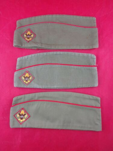 3 Vintage Official Boy Scout Garrison Hats - Sizes 1 Large & 2 Mediums