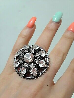 Flower Jumbo Oversize Cocktail Statement Prom Ring Crystal Black Clear Stretch -